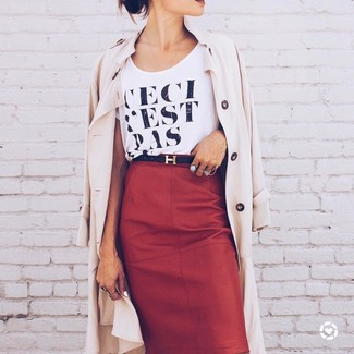 How to wear: black leather belt, red leather pencil skirt, black and white print crew-neck t-shirt, beige trenchcoat