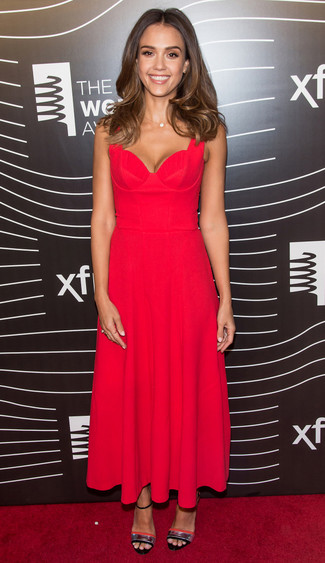 Jessica Alba wearing Red Pleated Midi Dress, Silver Leather Heeled Sandals