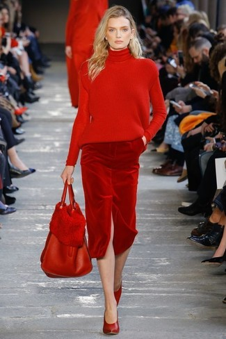 How to wear: red leather tote bag, red leather pumps, red velvet pencil skirt, red knit turtleneck