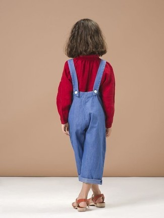 How to wear: red sandals, blue overalls, red long sleeve blouse