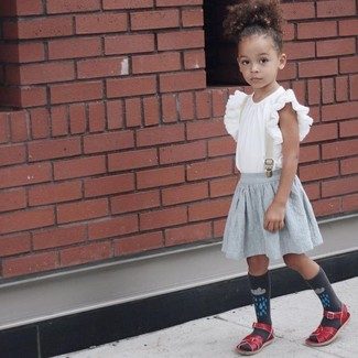 How to wear: charcoal socks, red sandals, grey skirt, white ruffle tank top
