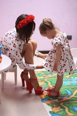 How to wear: red sandals, white and red dress