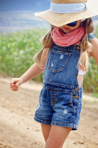 How to wear: red scarf, beige hat, blue overalls