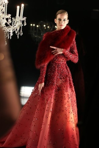 How to wear: red sequin evening dress, red fur scarf