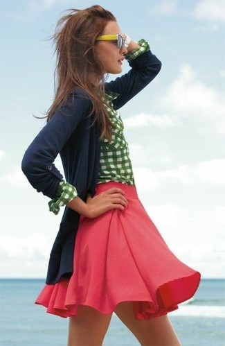 How to wear: yellow sunglasses, red skater skirt, white and green gingham dress shirt, navy cardigan