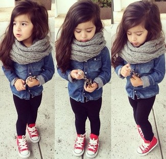 How to wear: grey scarf, red sneakers, black leggings, navy denim long sleeve shirt
