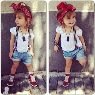 How to Wear Red Sneakers For Girls: Suggest that your tot opt for a white t-shirt and light blue denim shorts for a fun day in the park. Red sneakers are a nice choice to finish off this outfit.