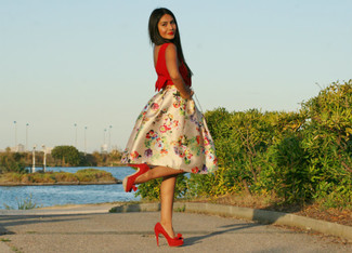 How to wear: red suede pumps, beige floral full skirt, red cropped top