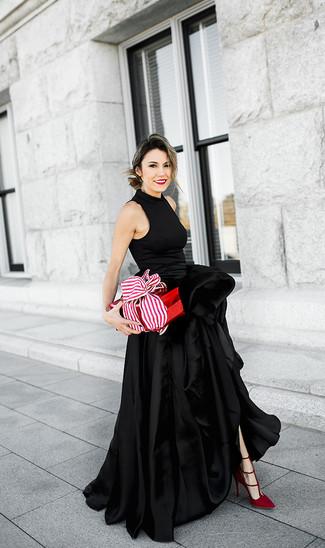 How to wear: red suede pumps, black slit satin evening dress