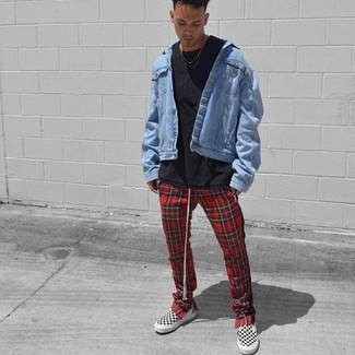 How to wear: white and black slip-on sneakers, red plaid sweatpants, black crew-neck t-shirt, light blue denim jacket