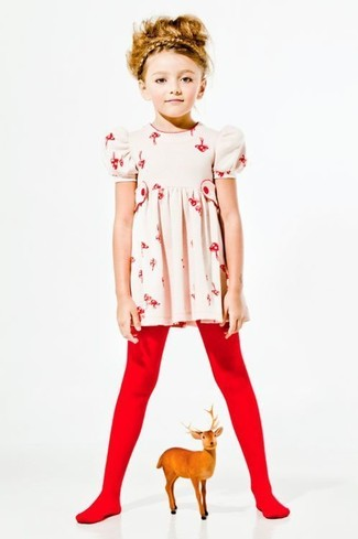 How to wear: red tights, beige floral dress