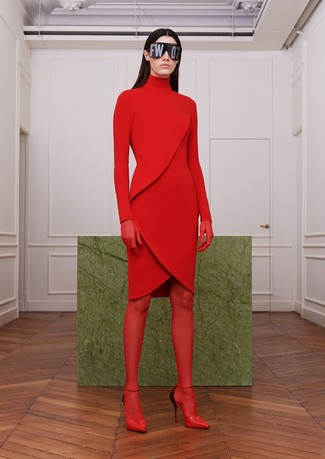 How to wear: red tights, red leather pumps, red sweater dress