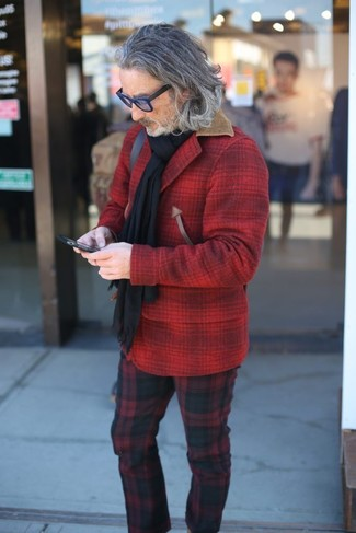 How to wear: red check wool shirt jacket, red and black plaid chinos, black scarf