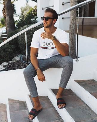 How to wear: black sunglasses, black horizontal striped leather sandals, grey plaid chinos, white print crew-neck t-shirt