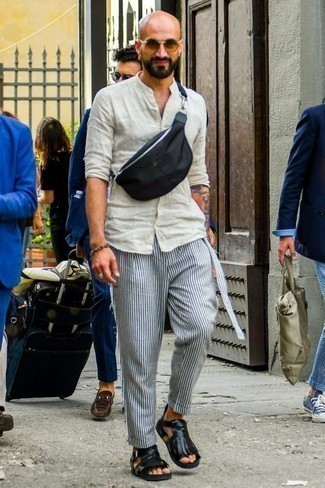 How to Wear White and Navy Vertical Striped Chinos: For a casually dapper look, try teaming a beige linen long sleeve shirt with white and navy vertical striped chinos — these two items work really well together. To bring out a more easy-going side of you, complement your outfit with black leather sandals.