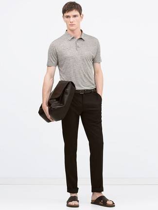 How to Wear Dark Brown Leather Sandals For Men: Go for a simple but at the same time casually stylish option by teaming a grey polo and dark brown chinos. You can get a little creative when it comes to shoes and play down your ensemble by rounding off with a pair of dark brown leather sandals.