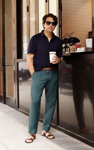 How to Wear Teal Dress Pants For Men: Pair a navy polo with teal dress pants if you wish to look stylish without too much work. Brown leather sandals are guaranteed to give a hint of stylish nonchalance to your outfit.