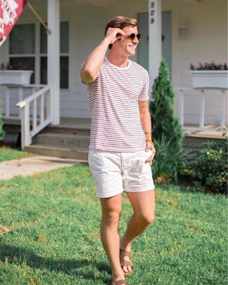 How to wear: dark brown sunglasses, brown leather sandals, white shorts, white and red and navy horizontal striped crew-neck t-shirt