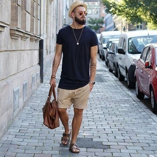 How to Wear Dark Brown Leather Sandals For Men: Want to inject your menswear arsenal with some casual cool? Try teaming a navy crew-neck t-shirt with tan shorts. Inject a more casual spin into this look by slipping into a pair of dark brown leather sandals.