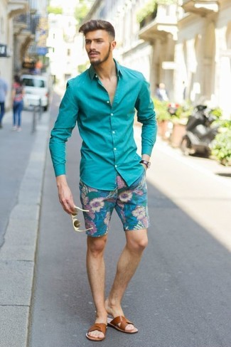 How to Wear a Teal Long Sleeve Shirt For Men: Who said you can't make a stylish statement with a casual ensemble? Turn every head around in a teal long sleeve shirt and teal floral shorts. If you want to effortlesslly dial down your look with one single piece, why not complement this getup with tobacco leather sandals?