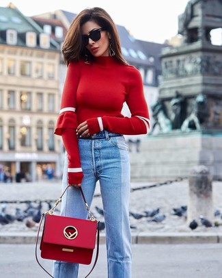 How to wear: black sunglasses, red leather satchel bag, light blue jeans, red turtleneck
