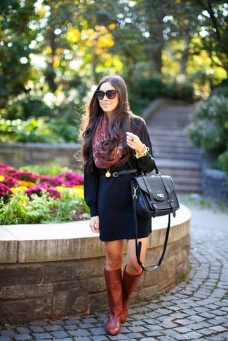 How to Wear Burgundy Leather Knee High Boots: Dress in a black casual dress for an off-duty and trendy outfit. Finish with burgundy leather knee high boots to make the ensemble slightly more polished.