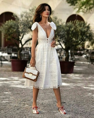 How to wear: gold necklace, white leather satchel bag, white leather mules, white midi dress