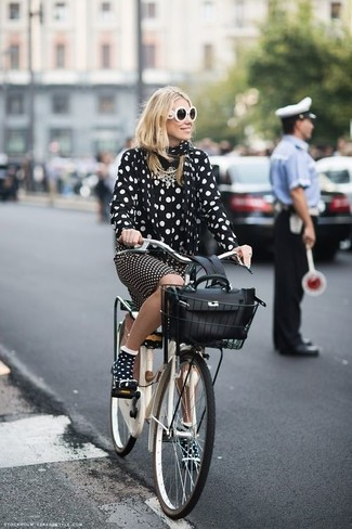 How to Wear a Black and White Polka Dot Scarf For Women: Wear a black and white polka dot chiffon dress shirt with a black and white polka dot scarf to assemble a casual and practical getup.