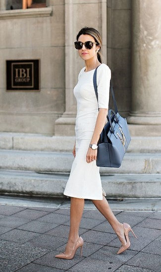 How to wear: dark brown leopard sunglasses, blue leather satchel bag, beige leather pumps, white sheath dress