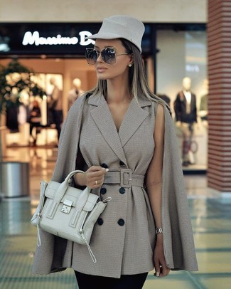 How to wear: grey wool hat, mint leather satchel bag, black skinny pants, grey check cape coat