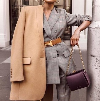 How to wear: tan leather waist belt, dark purple leather satchel bag, grey plaid suit, camel coat