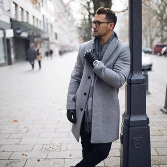 How to wear: black leather gloves, grey check scarf, black chinos, grey overcoat