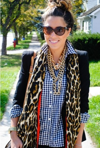 How to wear: brown leopard sunglasses, tan leopard scarf, white and navy gingham dress shirt, black blazer