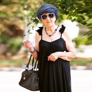 How to wear: black and white sunglasses, navy lightweight scarf, black leather tote bag, black pleated maxi dress