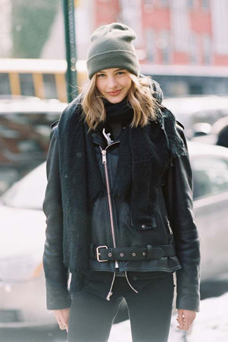 Something as simple as opting for a black leather biker jacket and a grey beanie can potentially set you apart from the crowd. A comfortable transition look like this one makes it very easy to embrace the new season.