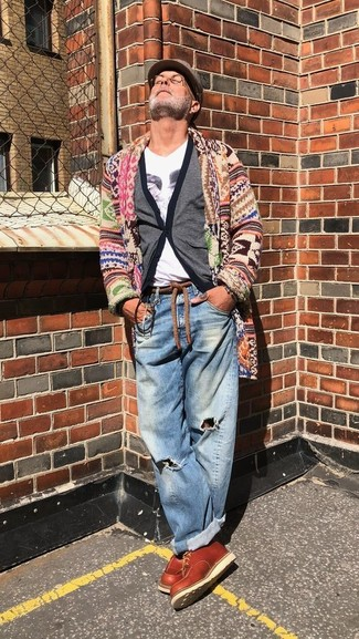 How to wear: multi colored shawl cardigan, grey cardigan, white print v-neck t-shirt, blue ripped jeans