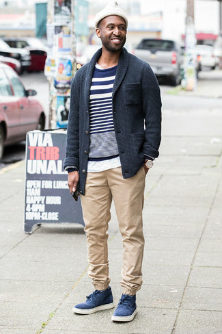 How to wear: charcoal shawl cardigan, navy and white horizontal striped crew-neck sweater, white crew-neck t-shirt, beige chinos