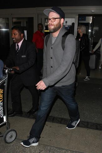 Seth Rogen wearing Grey Shawl Cardigan, Grey Crew-neck T-shirt, Navy Jeans, Black Athletic Shoes