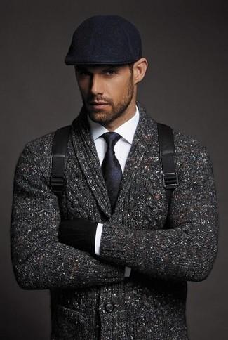 How to wear: charcoal shawl cardigan, white dress shirt, black leather backpack, black flat cap