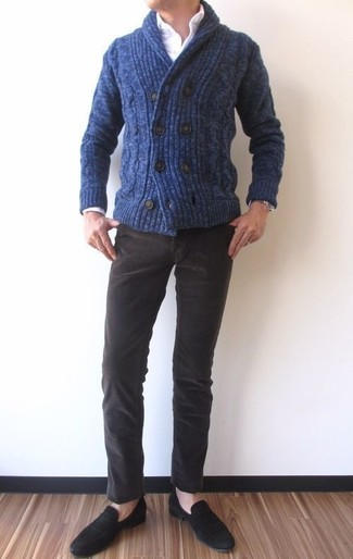 How to wear: navy shawl cardigan, white dress shirt, dark brown corduroy jeans, black suede loafers