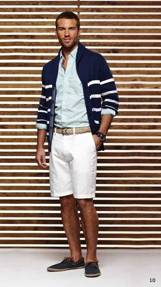How to wear: navy and white horizontal striped shawl cardigan, light blue dress shirt, white shorts, navy leather boat shoes