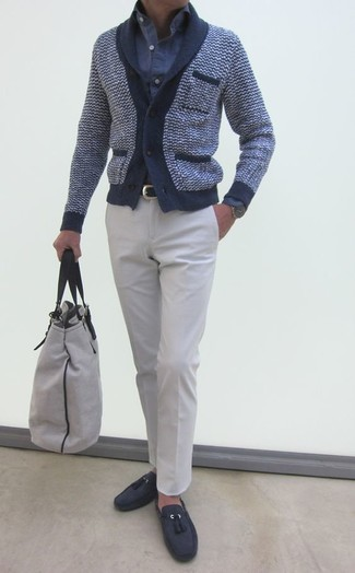 How to wear: navy shawl cardigan, blue seersucker long sleeve shirt, white dress pants, charcoal suede tassel loafers