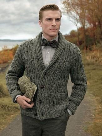 How to wear: olive shawl cardigan, grey long sleeve shirt, charcoal wool dress pants, tan plaid flat cap