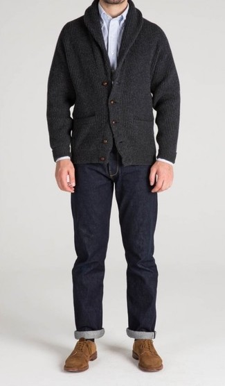 How to wear: charcoal shawl cardigan, light blue vertical striped long sleeve shirt, navy jeans, tan suede derby shoes