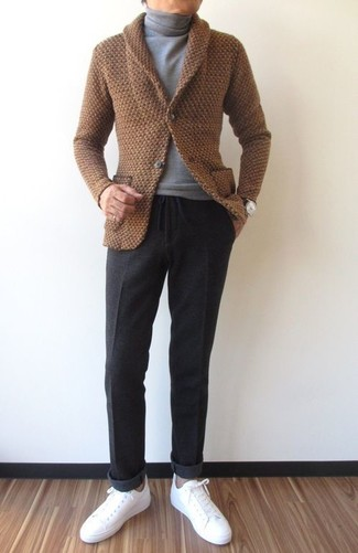 How to wear: brown shawl cardigan, grey turtleneck, charcoal wool dress pants, white leather low top sneakers