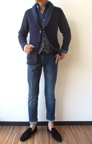 How to wear: navy shawl cardigan, grey wool waistcoat, navy denim shirt, blue jeans