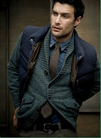 How to wear: charcoal shawl cardigan, navy quilted waistcoat, navy denim shirt, charcoal chinos