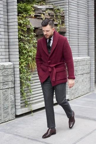 How to wear: burgundy shawl cardigan, black waistcoat, white dress shirt, charcoal wool dress pants