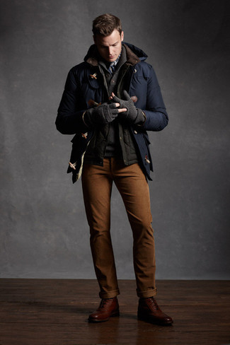 How to wear: tobacco chinos, charcoal shawl-neck sweater, charcoal gilet, navy duffle coat