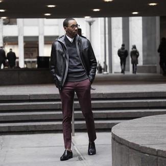 How to wear: white dress shirt, black shawl-neck sweater, grey hoodie, black leather bomber jacket
